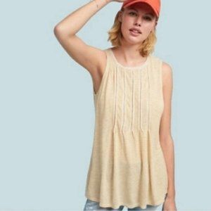 AKEMI + KIM Ladder Trim Pintuck Sleeveless Blouse